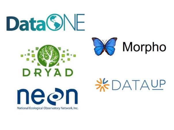 Logos for DataONE, Dryad, NEON, Morpho, and DataUP