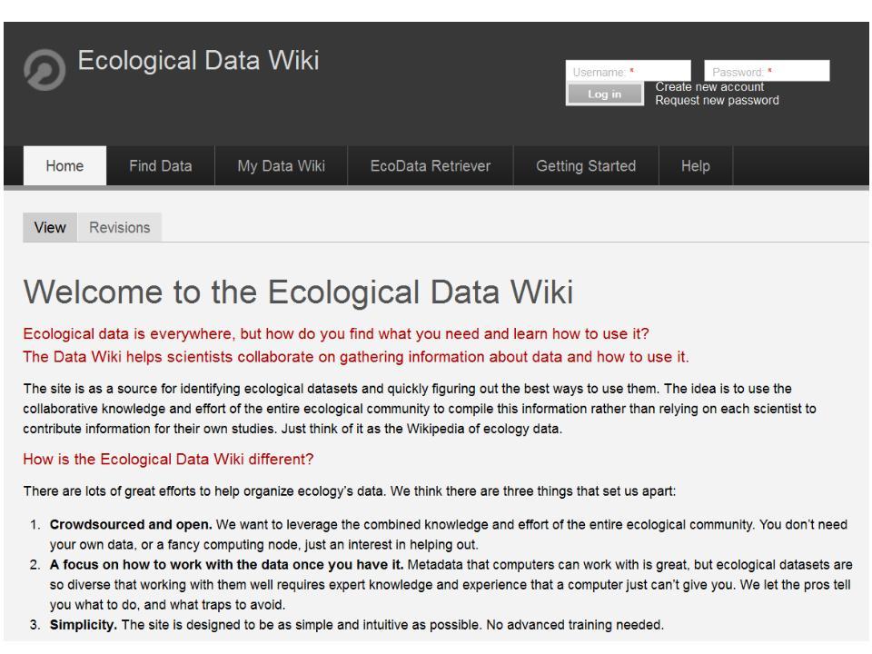 Screenshot of Ecological Data Wiki