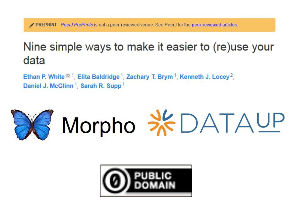 Screen shot of preprint, and Morpho, DataUP, and CC0 logos