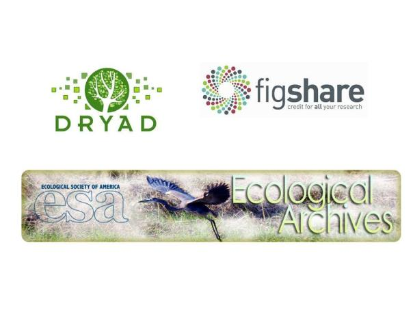 Images of Dryad, figshare, and Ecological Archives