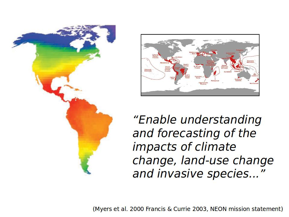 Maps and quote about large scale ecology from NEON