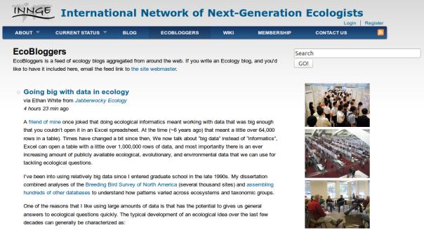 Screenshot of EcoBloggers website